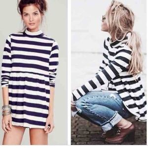 Free People Mod About It Striped Tunic Tee Blouse